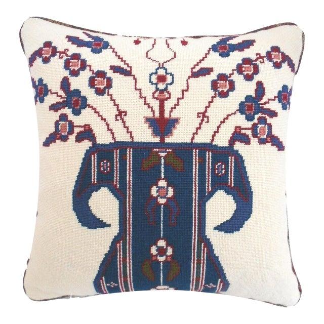 Jonathan Adler Style Vintage Chinoiserie Geometric Vase Needlepoint Pillow - Image 1 of 5