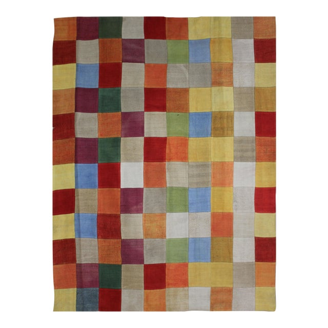 "Antique Hand Knotted Patchwork Kilim - 6'6"" x 8'10"" For Sale"