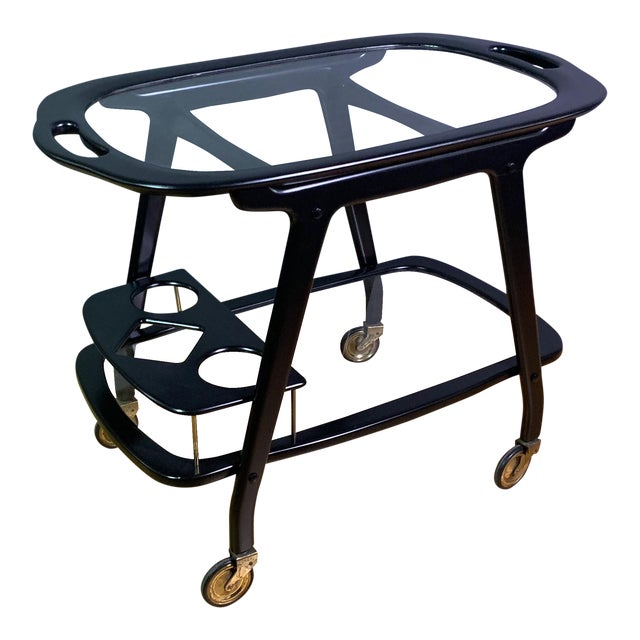 Ico Parisi 1955 Ebonized Mahogany Bar Cart, Italy For Sale