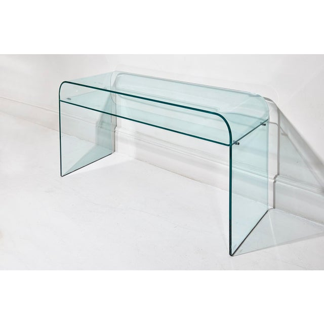 "Glass desk with under shelf model ""Elmentare"" by Enrico Tonucci for FIAM. Original Label. Italian, circa 1970s Width: 47..."