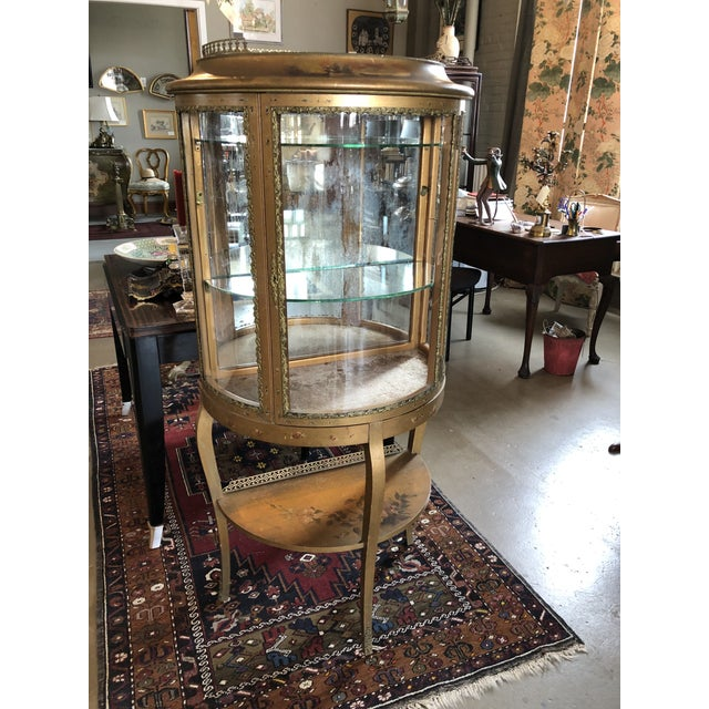Turn of the Century Circa 1900 French Hand Painted Vernis Martin Demilune Curio Cabinet. Overall sturdy and sound...