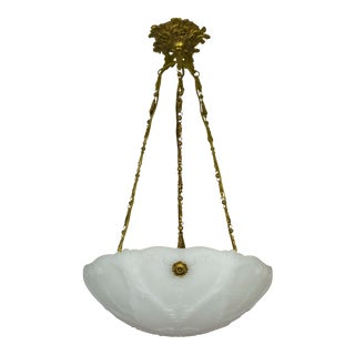 Early 20th Century Neoclassical Milk Glass Pendant For Sale