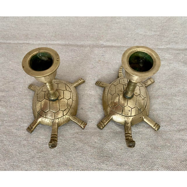 Vintage Brass Turtle Candlesticks- a Pair For Sale In Tampa - Image 6 of 11