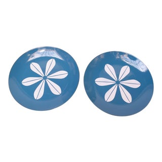 Pair of Blue and White 'Lotus' Enamel Plates by Arne Clausen for Cathrineholm Norway For Sale
