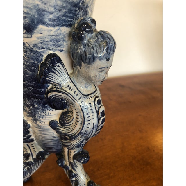 Antique Large Italian Blue and White Ceramic Figural Vase For Sale - Image 10 of 13