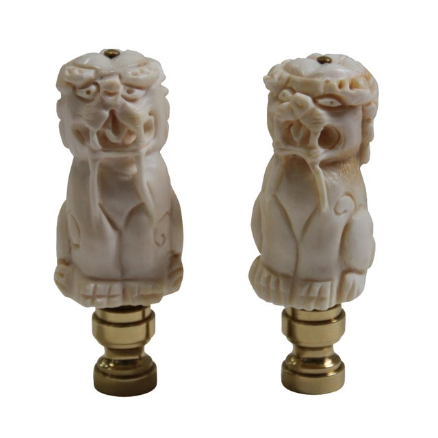Foo Dog Lamp Finials - A Pair - Image 1 of 2