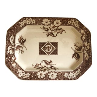 English Aesthetic Movement Transferware Sepia Color Platter by Avon, C.1884 For Sale