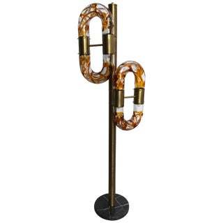 Floor Lamp Brass Murano Glass by Aldo Nason for Mazzega, Italy, 1970s For Sale