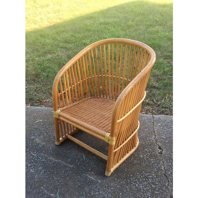 Vintage Rattan Barrel Chair - Image 2 of 11