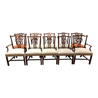 Schmieg and Kotzian Chippendale Style Mahogany Dining Chairs- Set of 10 For Sale