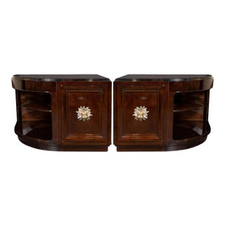 Art Deco Walnut End Table Nightstands with Gilded Pulls, Grosfeld House - a Pair For Sale
