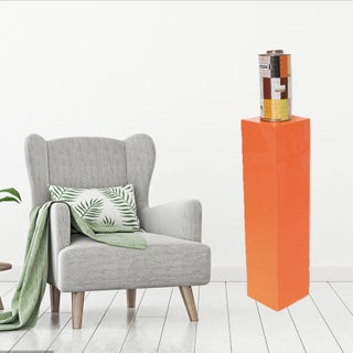 1970s Modernist Tall Orange Lucite or Acrylic Pedestal Stand Display Column Preview