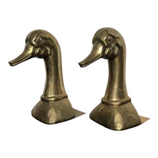 Sarried Over Sized Vintage Brass Duck Bookends - a Pair