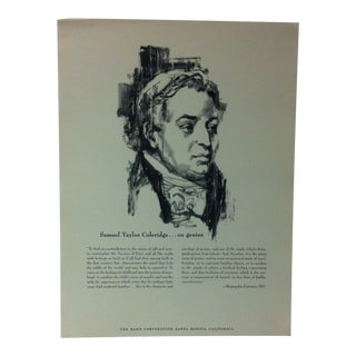"""1962 """"Samual Taylor Coleridge - on Genus"""" The Rand Corporation Famous People in History Print For Sale"""