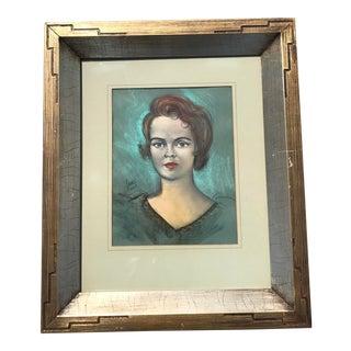 Vintage Chalk Pastels Female Portrait Drawing For Sale