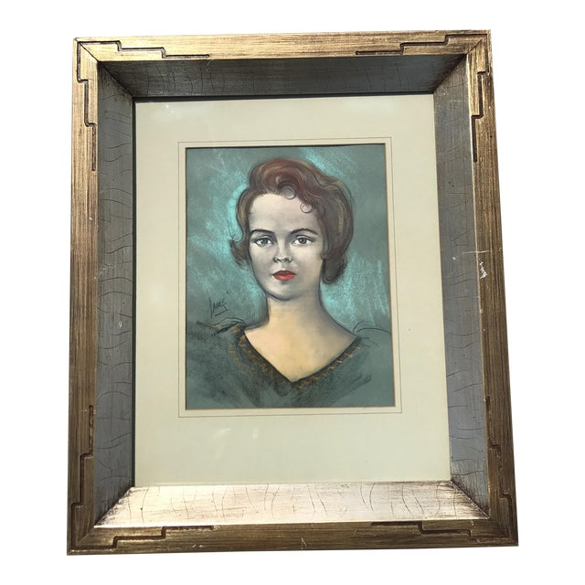Vintage Chalk Pastels Female Portrait Drawing For Sale