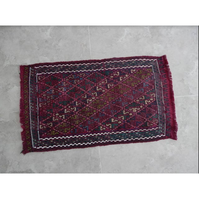 Vintage small Jajim rug. Hand woven with high quality pure wool. Excellent condition. From Turkey. Works well with all...