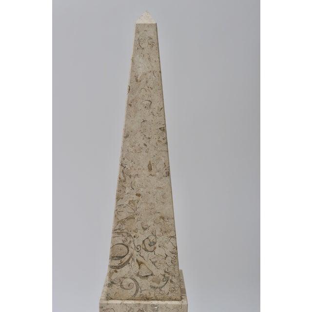 Tan Tan & Black Marble Obelisk For Sale - Image 8 of 11