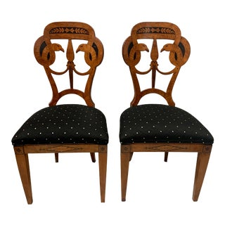 Pair of Art Deco Inlaid Biedermeier Style Chairs For Sale