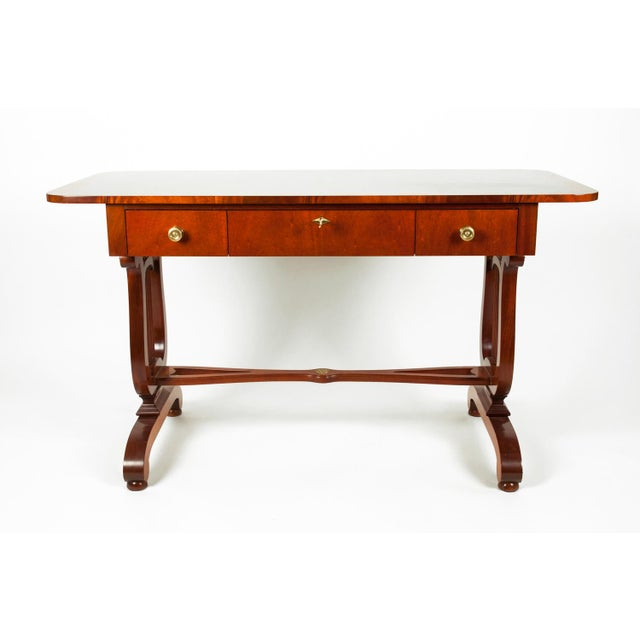 Vintage mahogany burl wood writing desk or console table. The piece is in excellent condition. The desk measure about 52...
