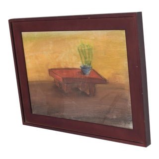 Pastel Paper Drawing Table - Still Life by P. Romo For Sale