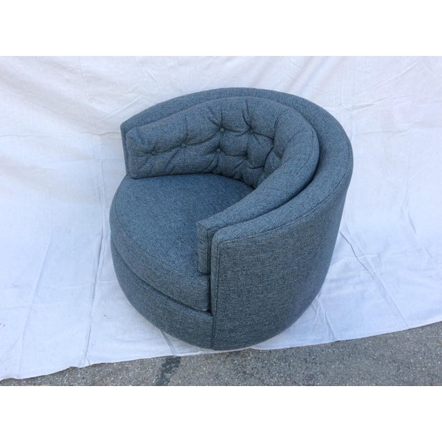 Textile Mid Century Barrel Swivel Chair For Sale - Image 7 of 12