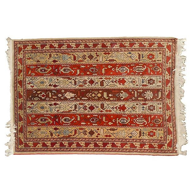 "Vintage Rust Striped Azerbaijani Rug - 4' x 5'8"" - Image 3 of 4"