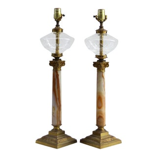 19th Century Banquet Oil Lamps with Onyx & Brass - A Pair