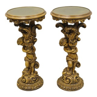 Vintage Mid Century French Rococo Style Cherub Angel Side Tables- A Pair For Sale