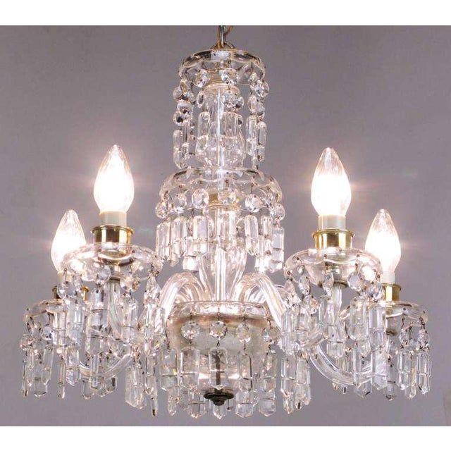 Mid-Century Modern Lightolier Cut-Crystal Five-Arm Chandelier, Circa 1940s For Sale - Image 3 of 12