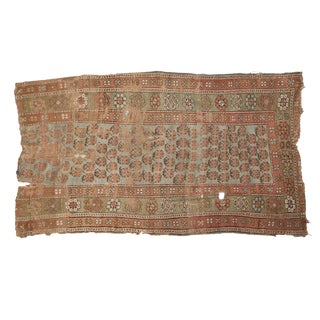 "Antique Distressed Kurdish Rug Fragment - 3'6"" x 6' For Sale"