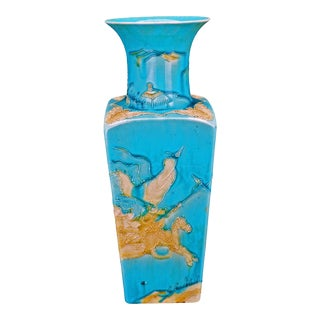 1900 Chinese Turquoise Glazed Porcelain Square Tapering Vase With Edged Designs of Warriors For Sale