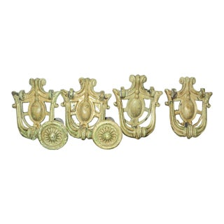 Victorian Metal Ornate Art Deco Drawer Pulls - Set of 6 For Sale