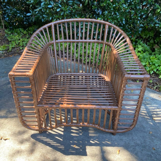 Mid-Century Modern Henry Olko Style Rattan Club Chair For Sale - Image 3 of 10