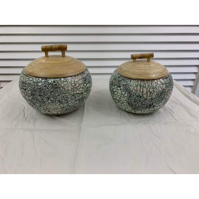 Set of 2 Silver and Green Eggshell and Bamboo Lacquered Covered Boxes with Lids. Made by Tozai Home. Measurements: larger...