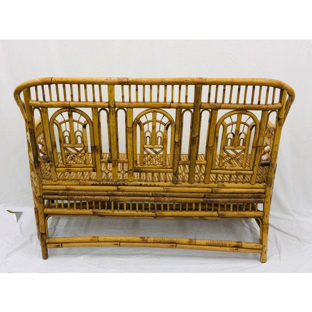 Pink Vintage Chinese Chippendale Bamboo & Cane Settee For Sale - Image 8 of 13