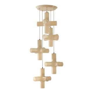 Modern Five-Light Crosslight Chandelier by Dark For Sale