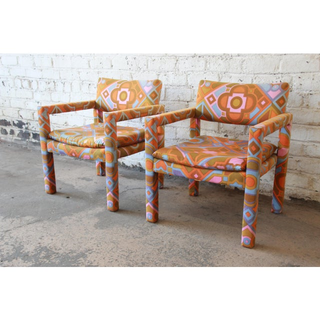 Milo Baughman for Thayer Coggin Parsons Style Club Chairs in Outstanding Larsen Fabric For Sale - Image 13 of 13
