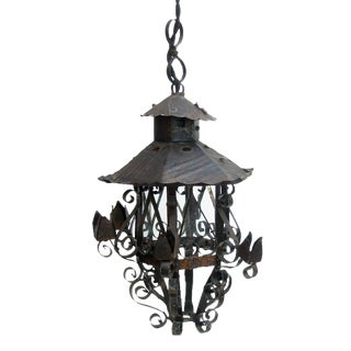 Petit French Iron Lantern For Sale