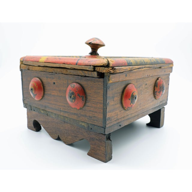 19th Century Antique Afghan Wood Spice Box For Sale - Image 4 of 13