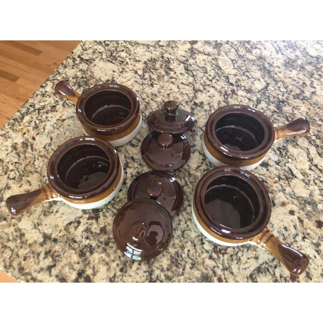 Stoneware French Onion Soup Bowls With Handles & Matching Lids - Set of 4 For Sale - Image 4 of 13