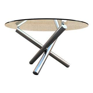 Milo Baughman Inspired Chrome Jax Table For Sale