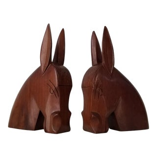 Vintage Hand Carved Wood Horse Bookends - a Pair . For Sale