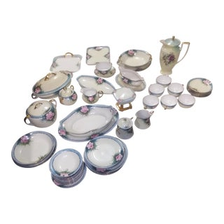 Hand Painted Chezolvakkian China - Set of 54 For Sale