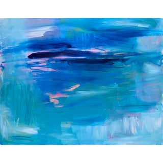 """Blue Curaçao"" by Trixie Pitts Large Abstract Expressionist Oil Painting For Sale"