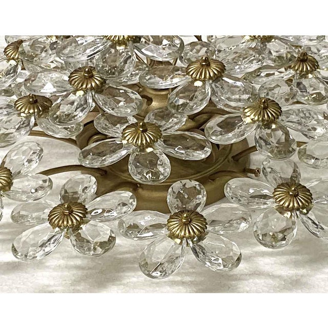 Italian Crystal & Gold Leaf Floral Flush Mount Light Fixture For Sale - Image 3 of 8