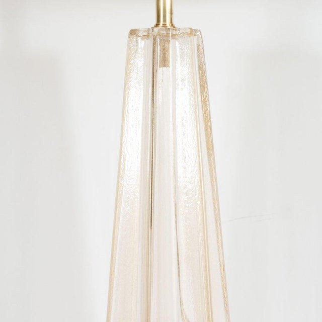 Contemporary Modernist Hand Blown Murano Glass With 24-Karat Gold Flecks Table Lamps - a Pair For Sale - Image 3 of 7