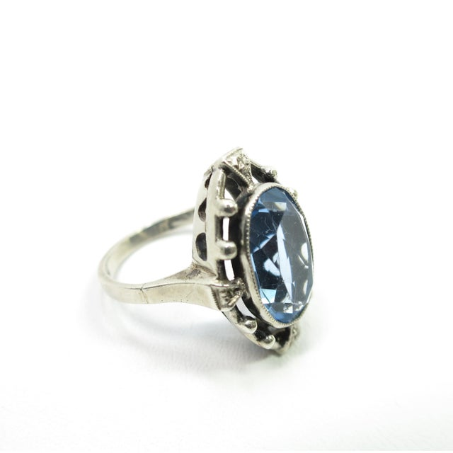 Edwardian 835 Silver & Blue Topaz Ring,1910 For Sale - Image 4 of 12