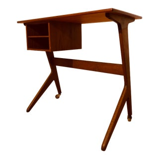 Mid Century Danish Teak Mills Writing Desk For Sale