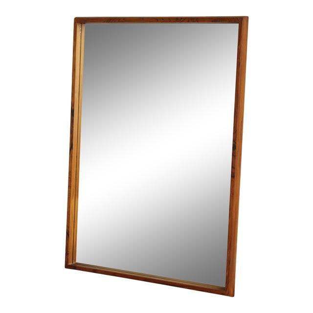Danish Modern Mid Century Rosewood Rectangular Wall Mirror For Sale